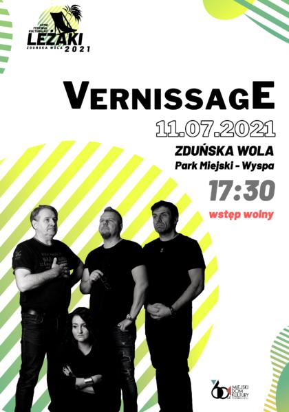 """LETNI FESTIWAL KULTURALNY ,,LEŻAKI 2021"""" - KONCERT ZESPOŁU ,,VERNISSAGE"""" @ PARK MIEJSKI"""